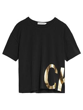calvin-klein-jeans-girls-gold-foil-short-sleeve-t-shirt-black