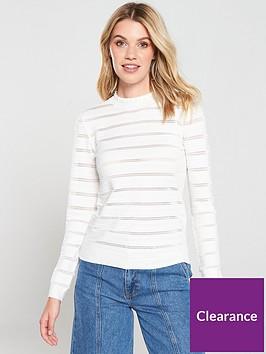 warehouse-stripe-stitch-ruffle-jumper-ivory