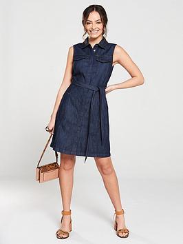warehouse-sleeveless-belted-denim-dress-dark-wash