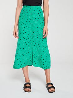 warehouse-spot-midi-skirt-green-print