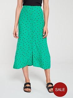 warehouse-spot-midi-skirt-green-print