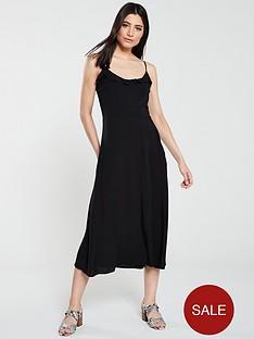 warehouse-bias-cut-frill-front-midi-dress-black