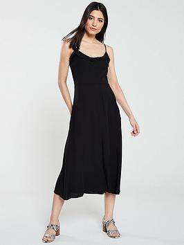 warehouse-bias-cut-frill-front-midi-dress-black