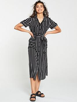 Warehouse Warehouse Stripe Utility Shirt Dress - Black Picture