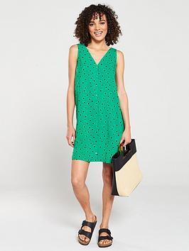 Warehouse Warehouse Green Spot Button Through Mini Dress - Green Print Picture