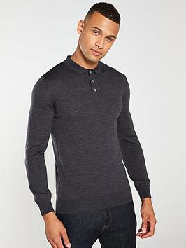 Barbour Barbour Merino Long Sleeved Polo Shirt - Charcoal Picture