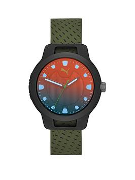 puma-puma-reset-black-irridescent-dial-green-silicone-strap-mens-watch