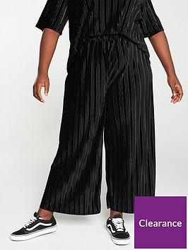 v-by-very-curve-plisse-velour-trouser-co-ord-black