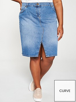 oasis-curve-split-front-denim-pencil-skirt-blue