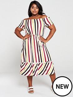 oasis-curve-bali-stripe-bardot-midi-dress-multi