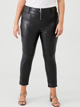 V by Very Curve V By Very Curve Pu Zip Front Skinny Trousers - Black Picture