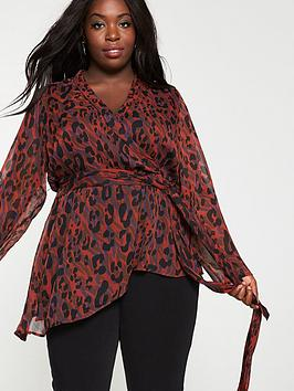 V by Very Curve V By Very Curve Red Animal Print Wrap Top - Multi Picture
