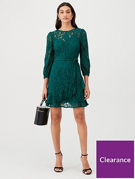 v-by-very-lace-tiered-skater-dress-forestnbspgreen