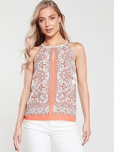 oasis-paisley-print-keyhole-top-coral