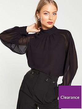 v-by-very-gathered-neck-longline-tunic-black