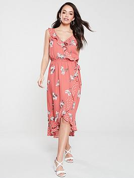 oasis-ruby-patched-ruffle-midi-dress