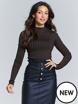 michelle-keegan-metallic-thread-knitted-jumper-black