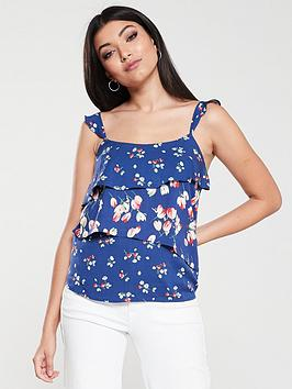 oasis-ditsy-patched-tiered-cami-blue