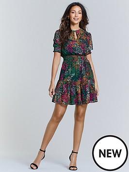michelle-keegan-shirred-waist-tea-dress-animal-print