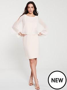 wallis-embellished-cuff-overlayer-dress-blush