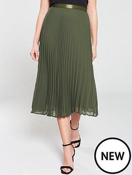 wallis-sunray-pleat-midi-skirt-khakinbsp