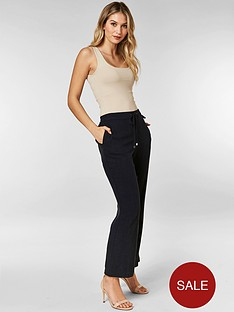 wallis-petite-linen-trousers-navy