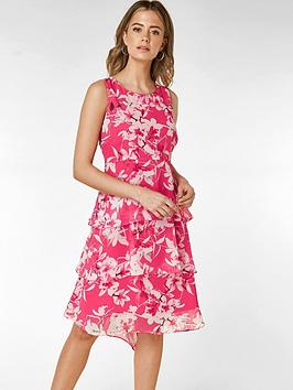 wallis-petite-orchid-triple-tiered-dress-pale-pink