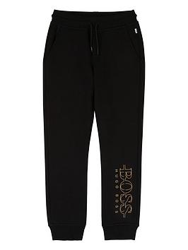 boss-boys-metallic-logo-cuffed-joggers-black