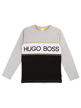 Boss Boss Boys Long Sleeve Colour Block Logo T-Shirt - Grey Picture