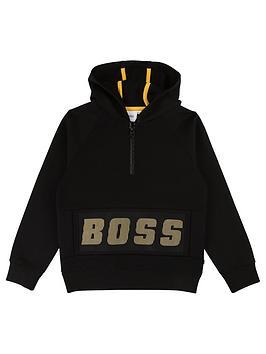 boss-boys-half-zip-logo-hooded-sweat-top-black