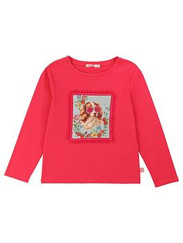 Billieblush Billieblush Girls Long Sleeve Applique T-Shirt - Bright Pink Picture