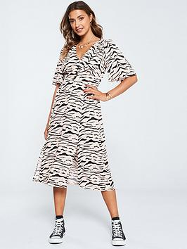 v-by-very-button-kimono-dress-zebra-print