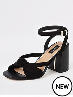 90ae149fc5 River Island River Island Wide Fit Knot Front Block Heel Sandal - Black