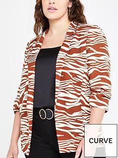 ri-plus-ri-plus-zebra-print-ruched-sleeved-blazer--brown