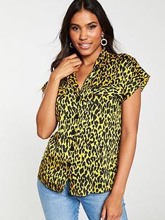 v-by-very-satin-short-sleeve-utility-blouse-animal-print