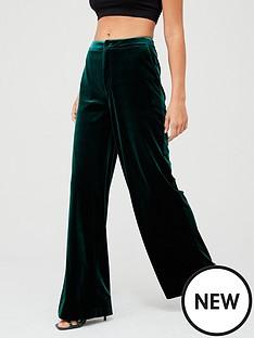 v-by-very-wide-leg-velvet-trouser--nbspforest-green