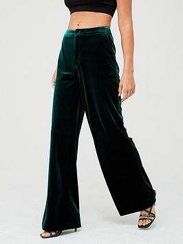 V by Very V By Very Wide Leg Velvet Trouser - Forest Green Picture
