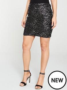 v-by-very-silver-textured-mini-skirt-black