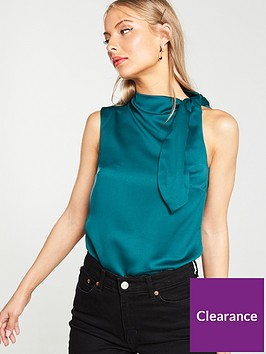 v-by-very-side-tie-satin-sleeveless-blouse-greennbsp