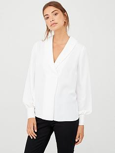 v-by-very-shawl-collar-longline-blouse-ivory