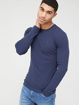 tommy-jeans-original-flag-logo-rib-long-sleeve-t-shirt-navy