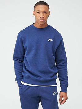 Nike Nike Sportswear Club Fleece Crew Neck Sweat - Navy Picture