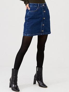 V by Very V By Very Button Front Denim Mini Skirt - Mid Wash Picture