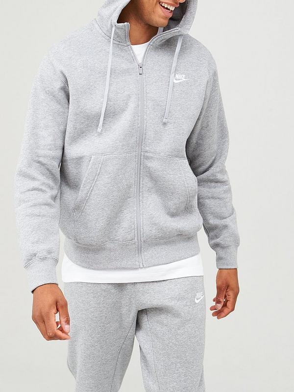 Dar derechos diluido tetraedro  Nike Sportswear Club Fleece Full Zip Hoodie - Dark Grey | littlewoods.com