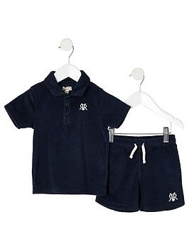 river-island-mini-mini-boys-ri-towelling-short-outfit-navy