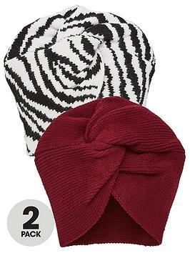 V by Very  V By Very 2 Pack Turbans - Black/Burgundy
