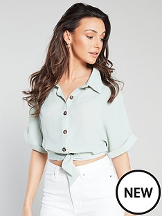 michelle-keegan-tie-front-cropped-shirt-mint