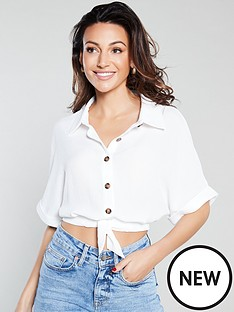 michelle-keegan-tie-front-cropped-shirt-ivory