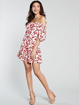 michelle-keegan-button-front-printed-tea-dress-red-floral