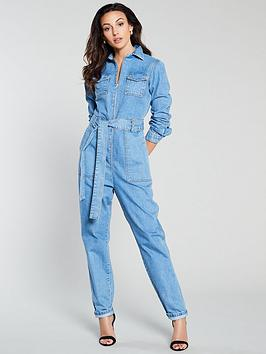 Michelle Keegan Michelle Keegan Zip Front Denim Boiler Suit Picture
